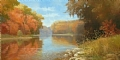 Autumn on the Kishwaukee by Tom Heflin Oil ~ 24 x 48