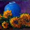 Blue Pot with Sunflowers