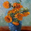 Yellow Sunflowers in Small Blue Vase