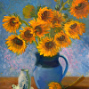 Yellow Sunflowers in Blue Pitcher