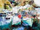 Harbour Reflections by Kristi Grussendorf Watercolor ~ 18 x 24