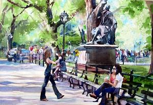 Photo Op in Central Park by Kristi Grussendorf Watercolor ~ 13.5 x 19.5