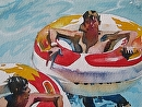 Water Park by Kristi Grussendorf Watercolor ~ 5 x 7