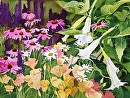 Angels` Trumpets & Daisies by Kristi Grussendorf Watercolor ~ 18 x 24