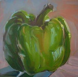 """Green Pepper"" by Kristi Grussendorf Oil ~ 6"" x 6"""
