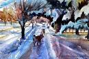 Morning Walk by Kristi Grussendorf Watercolor ~ 6.5 x 9.5