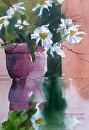 Daisy Reflection by Kristi Grussendorf Watercolor ~ 10 x 7
