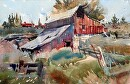 Mendon Barn by Kristi Grussendorf Watercolor ~ 10 x 16