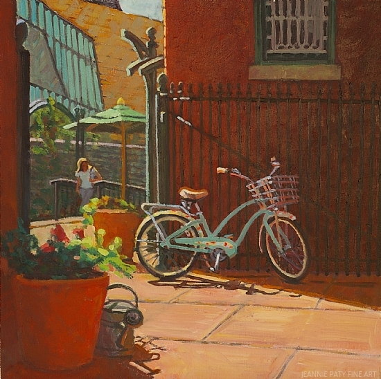 """Gigi, In the Courtyard at the Byers Evans Museum by Jeannie Paty Oil ~ 20 x 20"