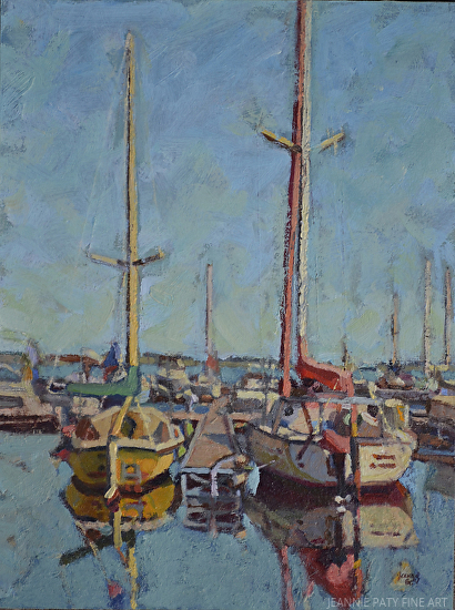 "A Passion For Sailboats by Jeannie Paty Oil ~ 12"" x 9"""