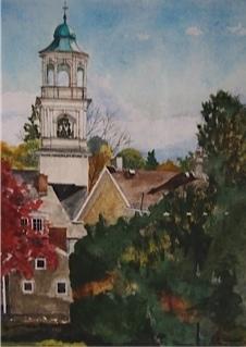 First Place<br>Richard Farmer<br>'Emmaus Moravian Village' - Watercolor