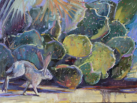 Ears, Borrego Springs Jackrabbit and Prickly Pear - Oil