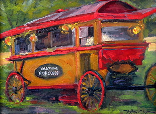 """Popcorn Time""   vintage popcorn wagon - Oil"