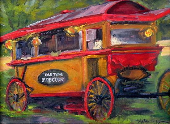 """Popcorn Time""   vintage popcorn wagon - Oil"