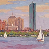 Sailing by the John Hancock by Dianne Miller - Oil