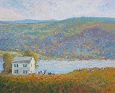 Farmhouse Above the River by Ramona Dooley Oil ~ 16 x 20