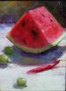 Watermelon Wedge with Grapes by Carol Roberts Oil ~ 10 x 8