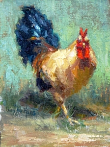 Rooster by Carol Roberts Oil ~ 8 x 6