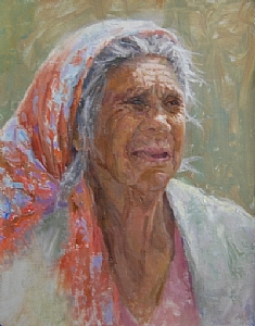 Abuela's Scarf by Carol Roberts Oil ~ 16 x 12