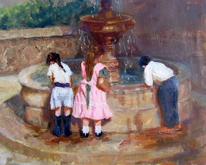 Children at the Fountain by Carol Roberts Oil ~ 14 x 18