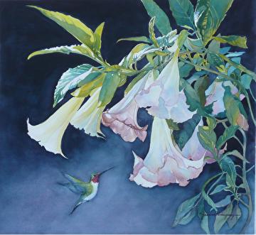"Angel  Trumpets by Yvonne Hemingway Watercolor ~ 27"" x 27"""