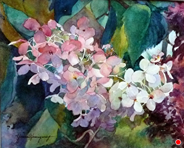"""Autumn Hydrangia by Yvonne Hemingway Watercolor ~ 11"""" x 14"""""""