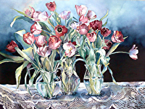 """Tulips&Lace by Yvonne Hemingway Watercolor ~ 26.5"""" x 29"""""""