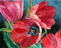 "Red Tulips by Yvonne Hemingway Watercolor ~ 20"" x 23"""