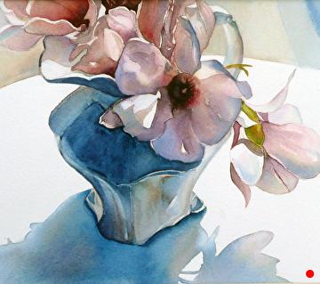 Magnolia Shadows by Yvonne Hemingway Watercolor ~  x