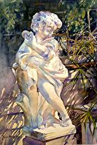 """snugharborstatue by Yvonne Hemingway Watercolor ~ 26"""" x 20"""""""