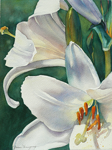 "Easter Lilies - Original Watercolor Painting by Yvonne Hemingway Watercolor ~ 20"" x 16"""