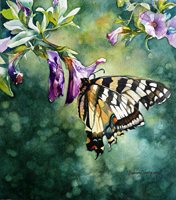 "Swallow Tail and Petunias - Original Watercolor Painting by Yvonne Hemingway Watercolor ~ 12.5"" x 11"""
