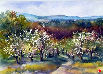 Spring at Sholan Orchards by Yvonne Hemingway Watercolor ~  x