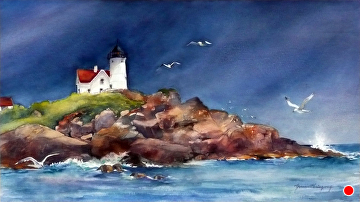 After the Storm - Nubble Light by Yvonne Hemingway Watercolor ~  x