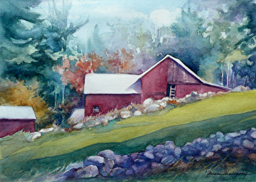 "Lucas Road Farm - Sterling, MA by Yvonne Hemingway Watercolor ~ 12"" x 16"""