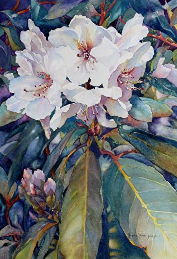 """Summer Rhodies by Yvonne Hemingway Watercolor ~ 25"""" x 19"""""""