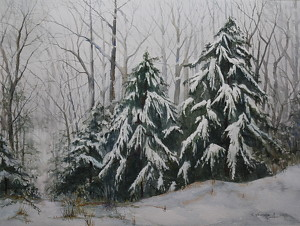 Snow Escape by Ann Vaillencourt Watercolor ~ 29 x 34