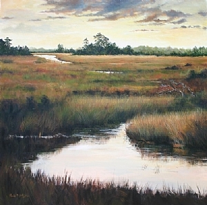 """Heron's Perch"" by Paula B. Holtzclaw  ~ 36 x 36"