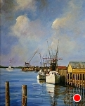Fishing Boats at Rest by Paula B. Holtzclaw Oil ~ 20 x 16