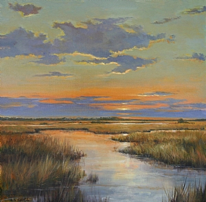 Autumn Sunset by Paula B. Holtzclaw Oil ~ 24 x 24