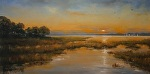 The Point at Dusk by Paula B. Holtzclaw Oil ~ 12 x 24