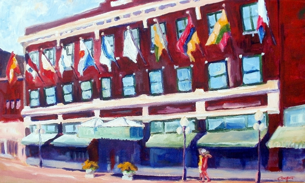 Flags Out Front by karen cooper Acrylic ~ 12 inches x 20 inches