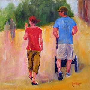 Pushing The Burley Across Campus by karen cooper Acrylic ~ 12 inches x 12 inches