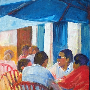 Lunch On Iowa Avenue (Takanami) by karen cooper Acrylic ~ 12 inches x 12 inches