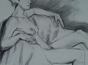 Life Drawing 3 18 2010 by karen cooper Charcoal ~ 24 inches x 30 inches