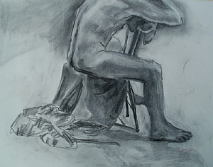 Life Drawing 10 28 2010 by karen cooper Charcoal ~ 30 inches x 24 inches