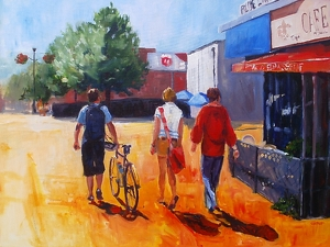 Walking The Neighborhood by karen cooper Acrylic ~ 30 inches x 40 inches