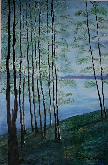 """Aspen_Lake by Jo Allebach Acrylic ~ 36"""" x 24"""""""