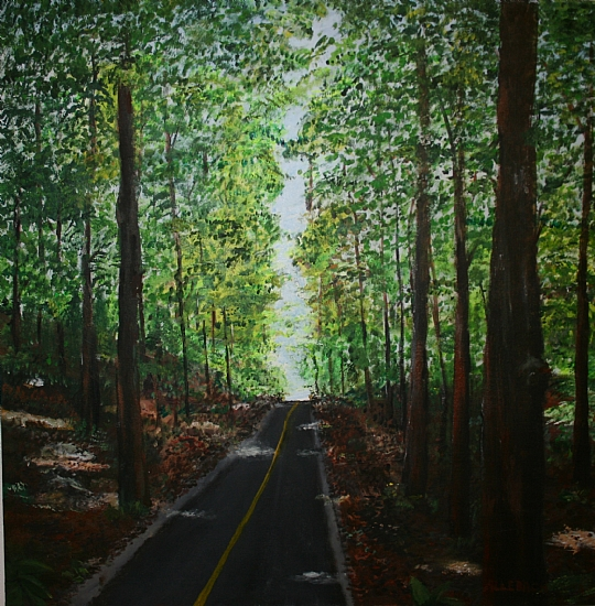 "Bike_Path by Jo Allebach Acrylic ~ 36"" x 36"""
