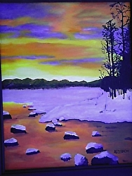Sunset on Snowy Lake 24 x 18 Acrylic